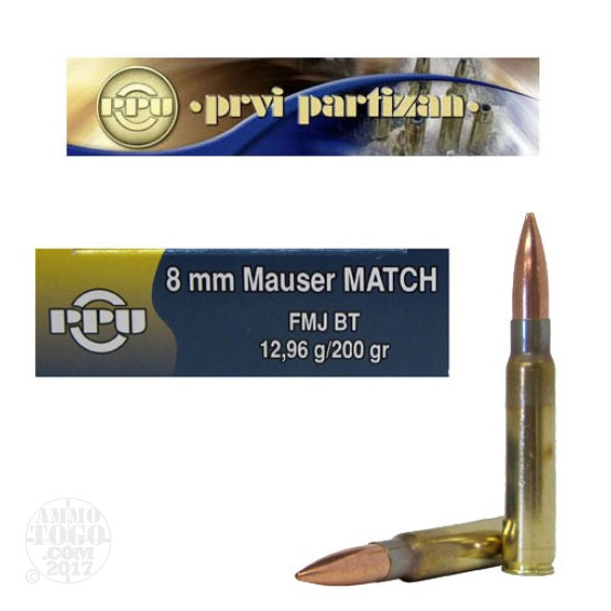 20rds - 8mm Mauser PPU 200gr. Match FMJ BT Ammo