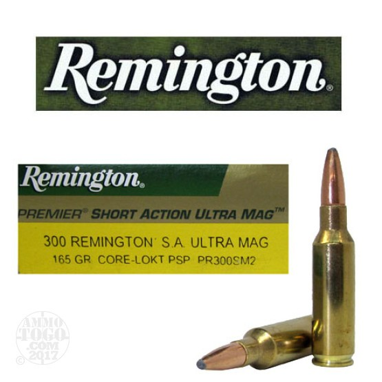 20rds - 300 Remington Short Action Ultra Mag. Core-Lokt 165gr. PSP Ammo