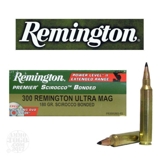 20rds - 300 RUM Remington Premier 180gr. Scirocco Bonded Polymer Tip Power Level 3 Ammo