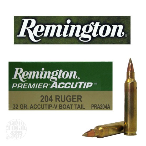 20rds - 204 Ruger Remington Premier 32gr. AccuTip-V BT Ammo