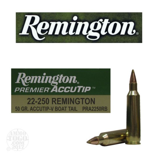 20rds - 22-250 Remington Premier 50gr. Accu-Tip-V Boat Tail Ammo