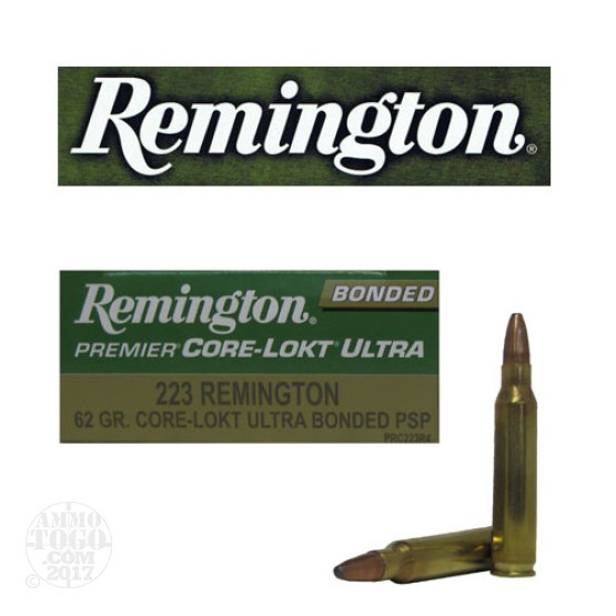 20rds - 223 Remington Premier 62gr Core-Lokt Ultra Bonded Pointed Soft Point Ammo