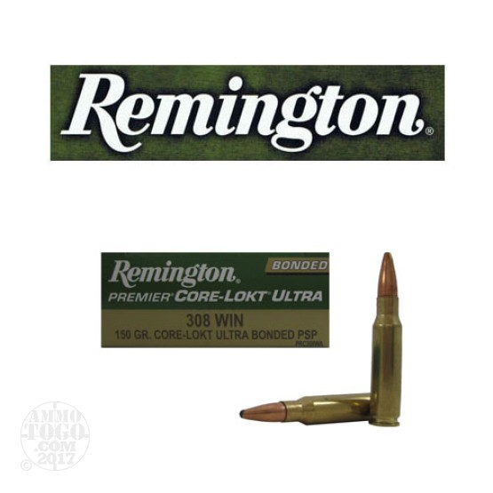 20rds - 308 Win Remington Premier 150gr. Core-Lokt Ultra Bonded SP Ammo