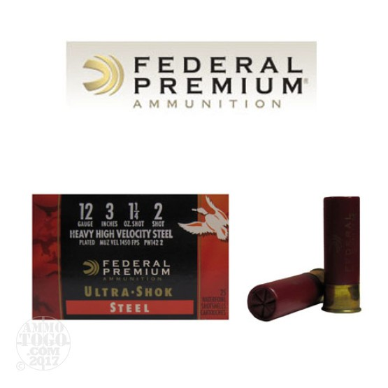 "250rds - 12 Ga. Federal Ultra-Shok 3"" 1 1/4oz. #2 HV Steel Shot"