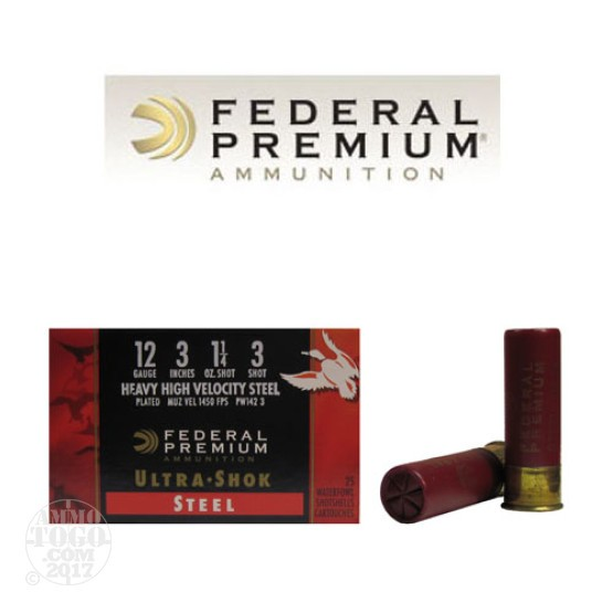 "25rds - 12 Ga. Federal Ultra-Shok 3"" 1 1/4oz. #3 HV Steel Shot"