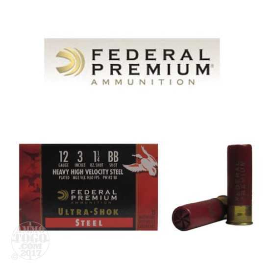 "25rds - 12 Ga. Federal Ultra-Shok 3"" 1 1/4oz. #BB HHV Steel Shot"