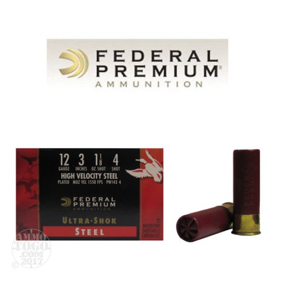 "25rds - 12 Ga. Federal Ultra-Shok 3"" 1 1/8oz. #4 HV Steel Shot"