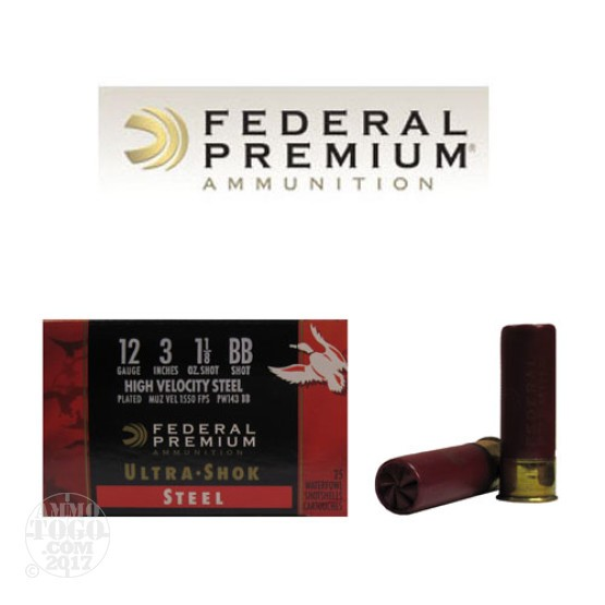 "25rds - 12 Ga. Federal Ultra-Shok 3"" 1 1/8oz. #BB HV Steel Shot"