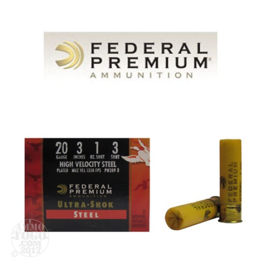 "25rds - 20 Gauge Federal Ultra-Shok 3"" 1oz. #3 HV Steel Shot Ammo"