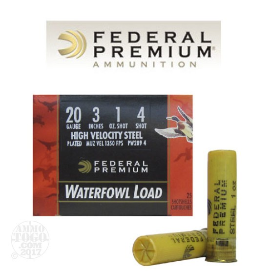 "25rds - 20 Gauge Federal Ultra-Shok 3"" 1oz. #4 HV Steel Shot Ammo"