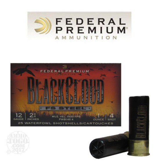 "250rds - 12 Ga. Federal Blackcloud 2 3/4"" 1oz. #4 Steel Shot"