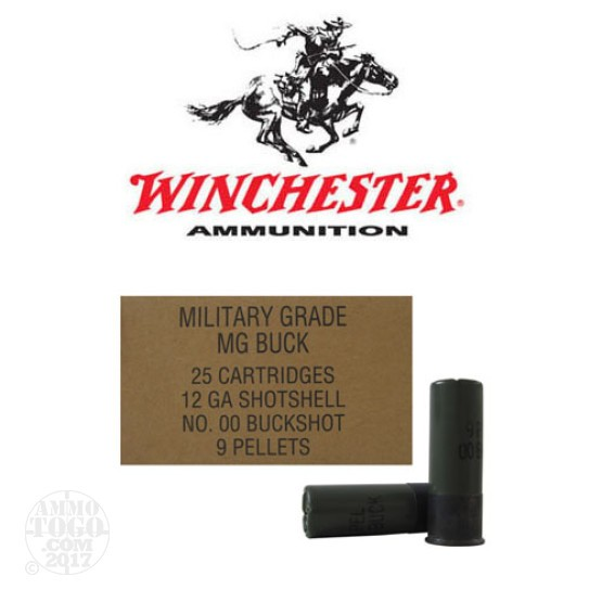"250rds - 12 Gauge Winchester Military 2 3/4"" 9 Pellet 00 Buckshot Value Pack Ammo"