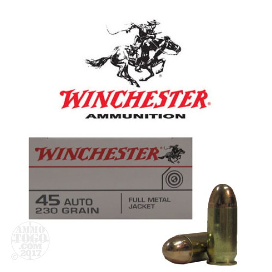 50rds - 45 ACP Winchester Target 230gr. FMJ Ammo