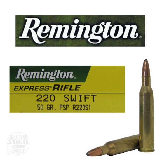 20rds - 220 Swift Remington 50gr. Pointed Soft Point Ammo