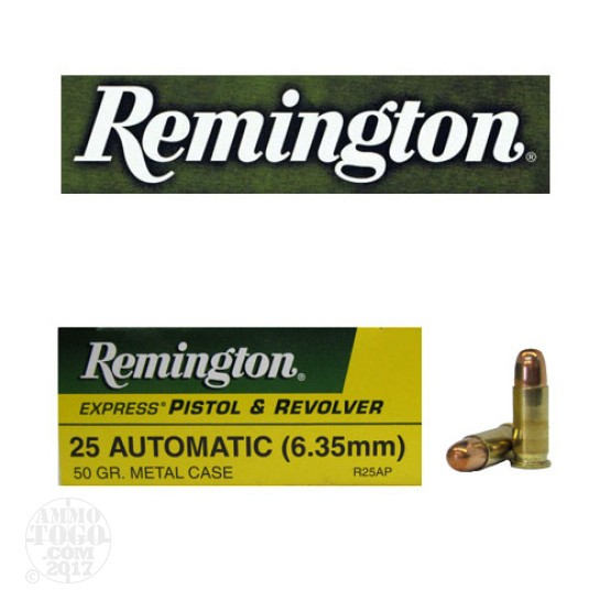50rds - 25 Auto Remington Express 50gr. FMJ Ammo