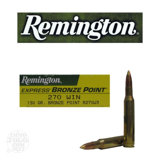 20rds - 270 Win Remington Express 130gr. Bronze Point Ammo