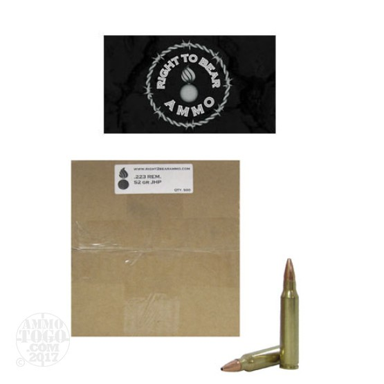 500rds - 223 Right To Bear 52gr. JHP Remanufactured Ammo