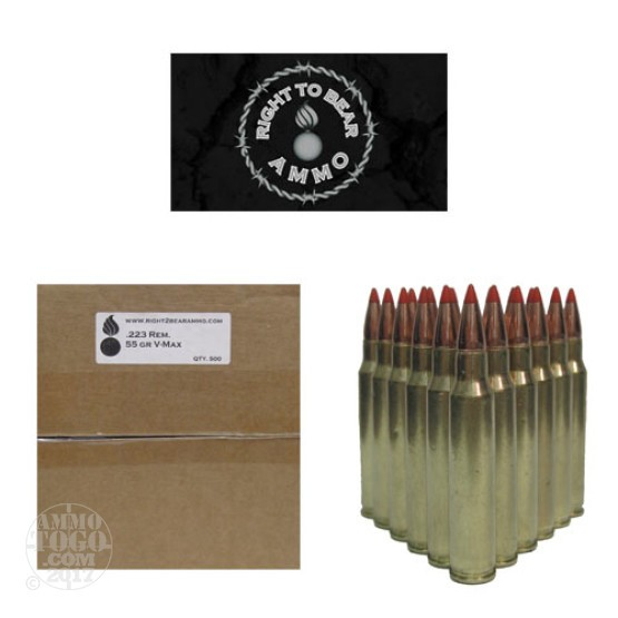 200rds - 223 Right To Bear 55gr V-Max Polymer Tip Ammo
