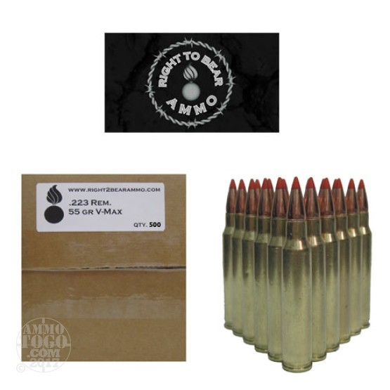 500rds - 223 Right To Bear 55gr V-Max Polymer Tip Ammo