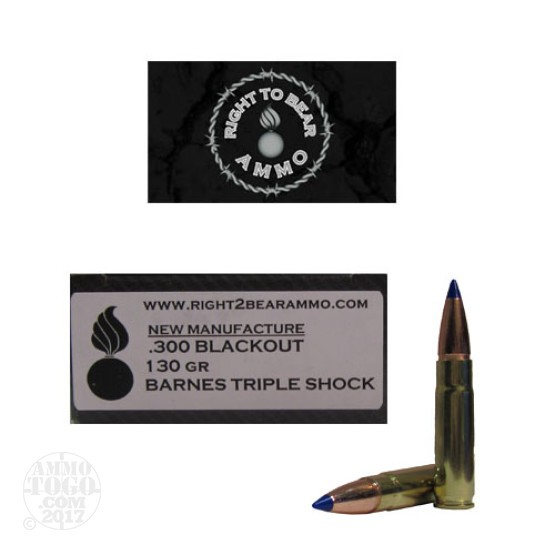 20rds - 300 AAC BLACKOUT Right To Bear 130gr Tipped TSX Ammo
