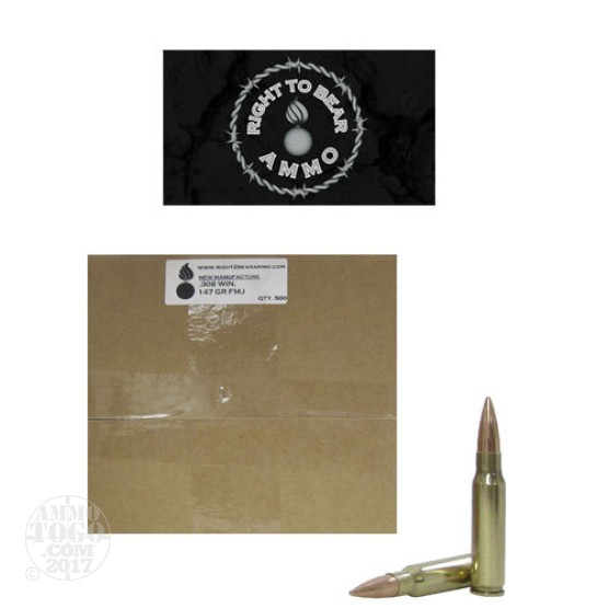 500rds - 308 Win. Right To Bear 147gr. FMJ Ammo Bulk Pack - New Brass!