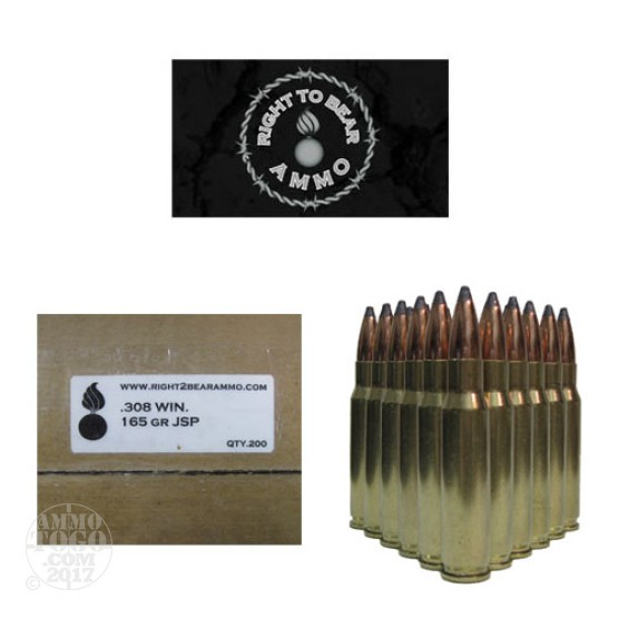200rds - 308 Win. Right To Bear 165gr. JSP Ammo