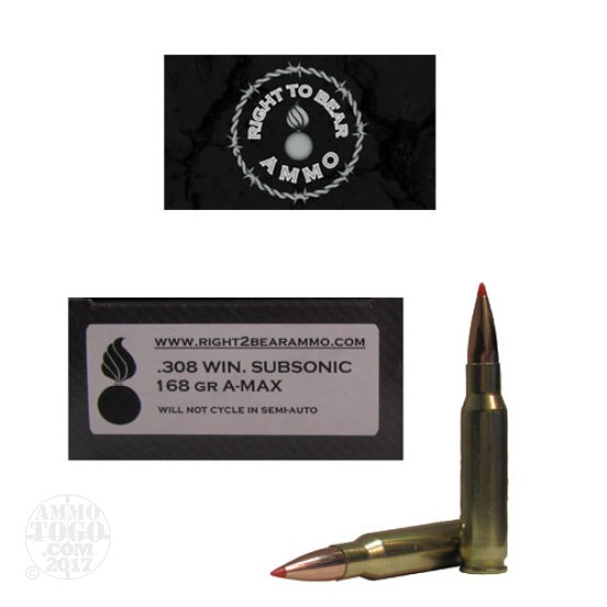20rds - 308 Win. Right To Bear Subsonic 168gr. A-MAX Ammo