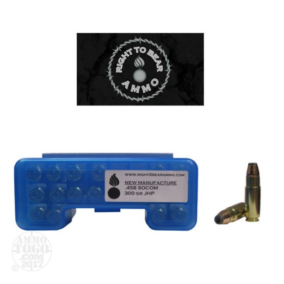 20rds - 458 SOCOM Right To Bear 300gr. JHP Ammo