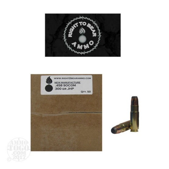 50rds - 458 SOCOM Right To Bear 400gr. JSP Ammo