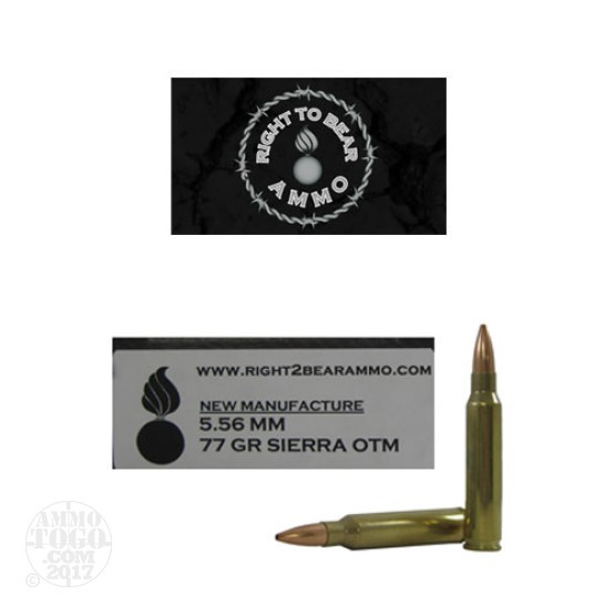 200rds - 5.56 Right to Bear 77gr. Sierra OTM Ammo (Similar to MK262 Specs)