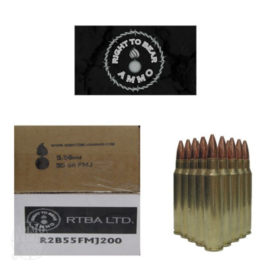 200rds - 5.56 Right To Bear 55gr FMJ Ammo