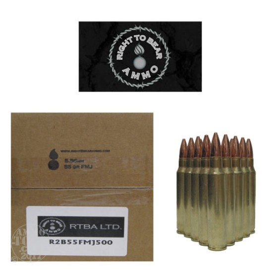500rds - 5.56 Right To Bear 55gr. FMJ Ammo