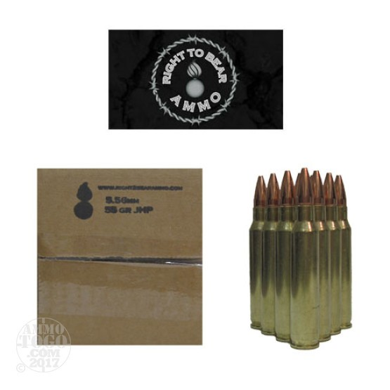 500rds - 5.56 Right To Bear 55gr. JHP Ammo