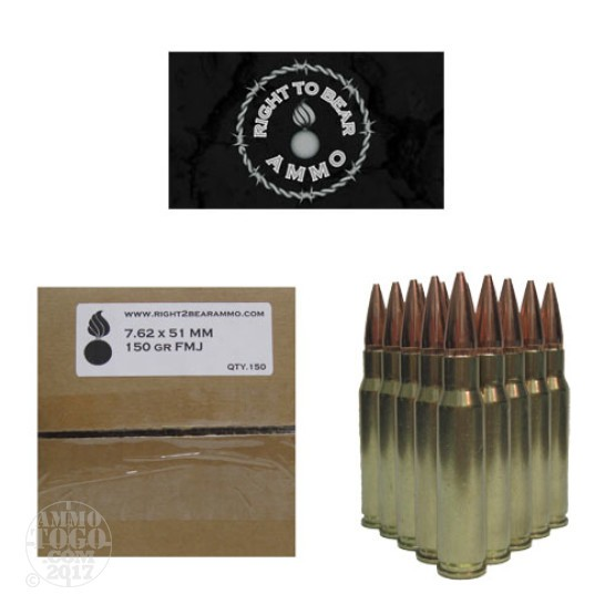 150rds - .308/7.62x51 Right To Bear 150gr FMJ Ammo