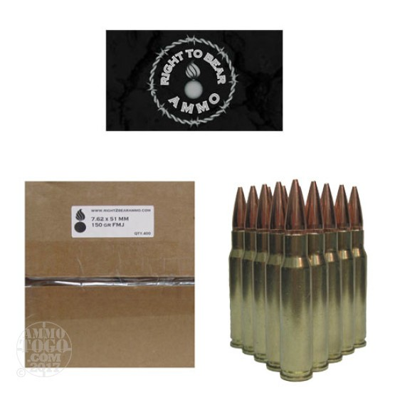 400rds - .308/7.62x51 Right To Bear 150gr FMJ Ammo