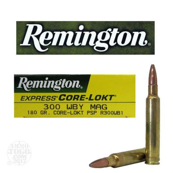 20rds - 300 WBY Mag. Remington 180gr Core-Lokt Pointed Soft Point Ammo