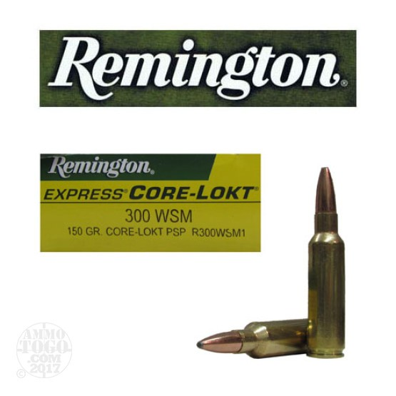 20rds - 300 WSM Remington 150gr. Core-Lokt Pointed Soft Point Ammo
