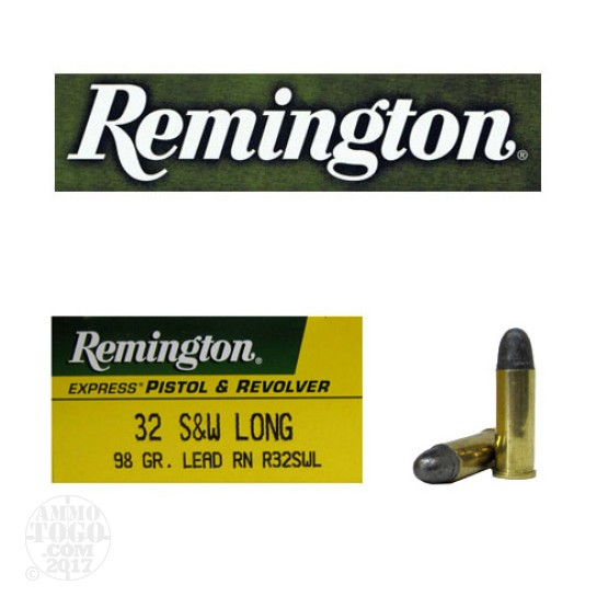 50rds - 32 S&W Long Remington 98gr. Lead Round Nose Ammo