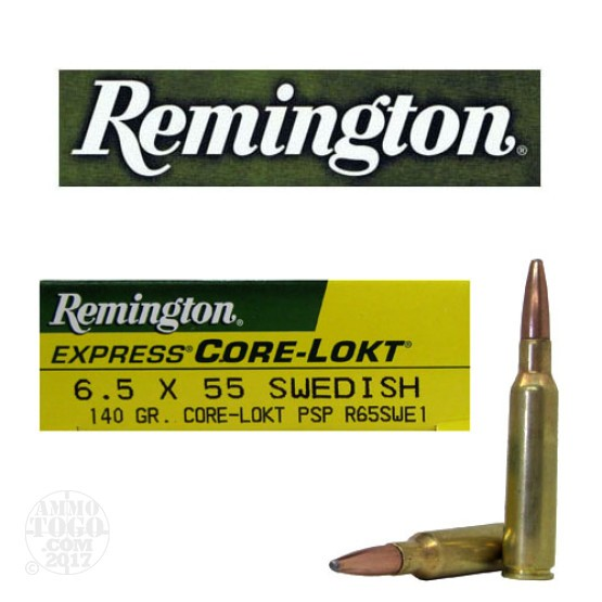 20rds - 6.5x55 Remington 140gr. Core-Lokt PSP Ammo