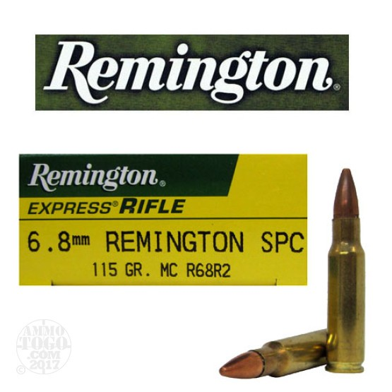 20rds - 6.8mm SPC Remington 115gr. FMJ Ammo
