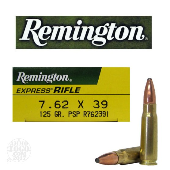 200rds - 7.62x39 Remington 125gr. Pointed Soft Point Ammo