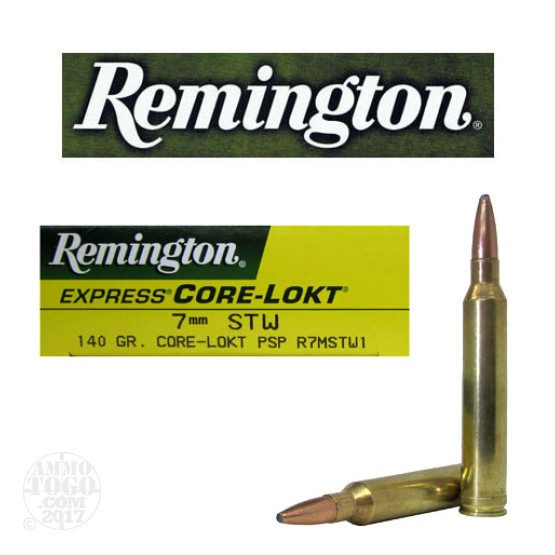 20rds - 7mm STW Remington 140gr. Core-Lokt PSP Ammo