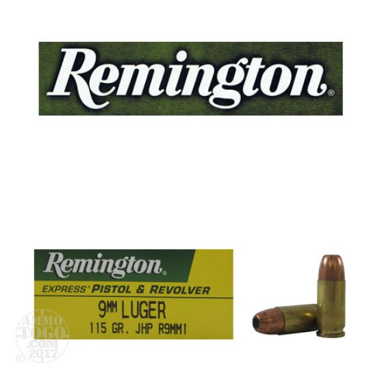 50rds - 9mm Remington Express 115gr. JHP Ammo