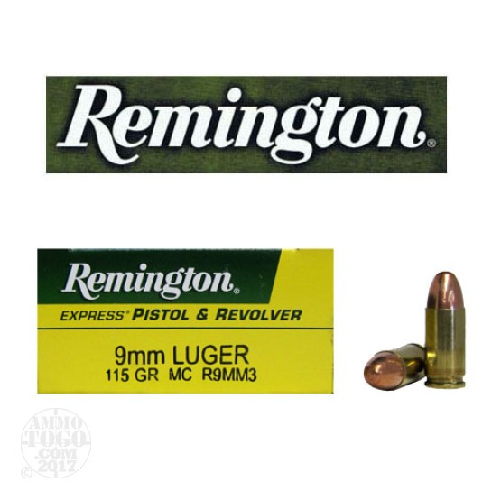 50rds - 9mm Remington Express 115gr. FMJ Ammo
