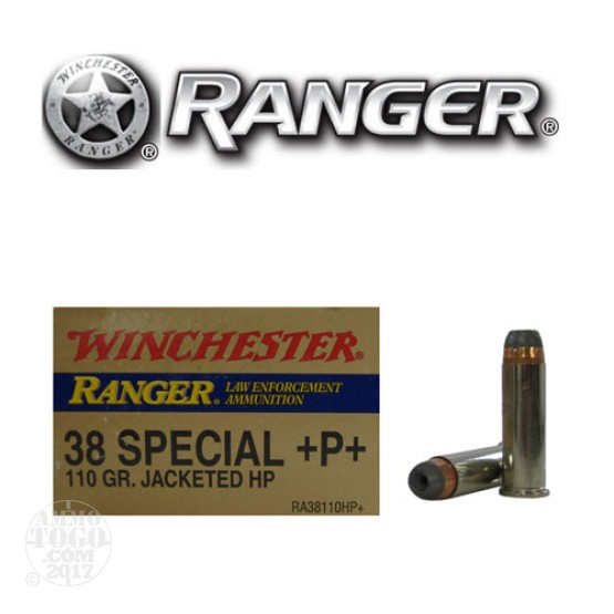 50rds - 38 Special Winchester Ranger 110gr. +P+ HP Ammo