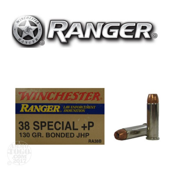 500rds - 38 Special Winchester Ranger 130gr. +P Bonded JHP Ammo