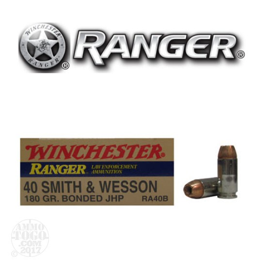 50rds - 40 S&W Winchester Ranger 180gr. Bonded HP Ammo
