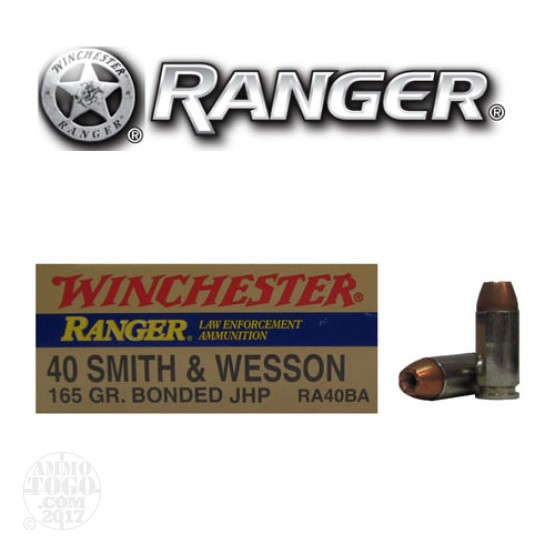 50rds - 40 S&W Winchester Ranger 165gr. Bonded HP Ammo
