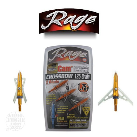 "1 - 3 Pack Rage SlipCam 125gr. 1 3/4"" Cutting Dia. Crossbow Mechanical Broadheads W/ Practice Head"