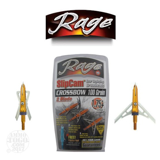 "1 - 3 Pack Rage SlipCam 100gr. 1 3/4"" Cutting Dia. Crossbow Mechanical Broadheads W/ Practice Head"
